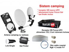 Sistem TV satelit camping cu receptor HD (UPC) si abonament TV FocusSat
