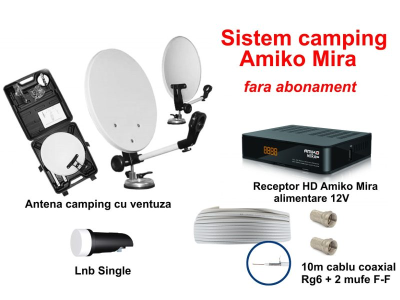 Sistem TV satelit camping cu receptor HD (Amiko Mira)