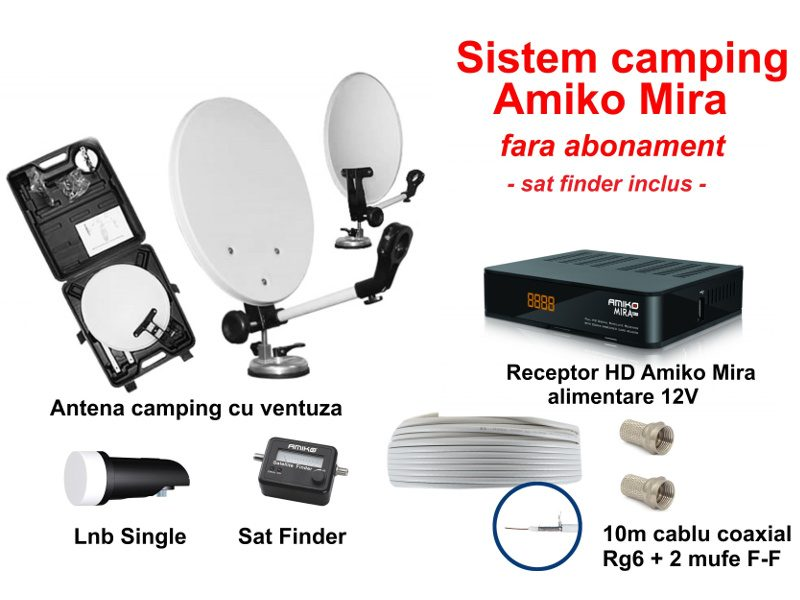 Sistem TV satelit camping cu receptor HD (Amiko Mira) si sat finder