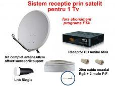 Sistem TV satelit cu receptor HD (Amiko Mira) fara abonament