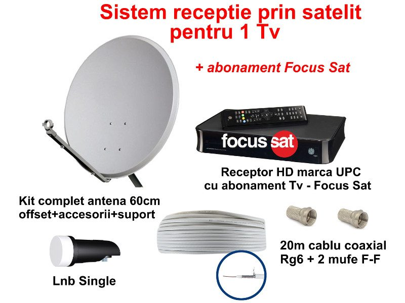 Sistem TV satelit cu receptor HD (UPC) si abonament FocusSat